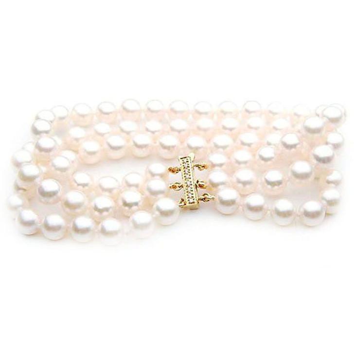 AB021 (AAA 7-7.5mm Japanese Akoya Saltwater Pearl Bracelet diamond clasp )