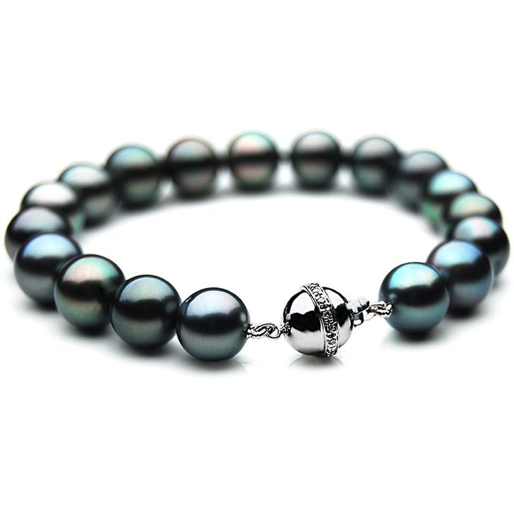 TB001 (AAA 9-11 mm Tahitian Black Pearl Bracelet W gold Diamond clasp 18cm )