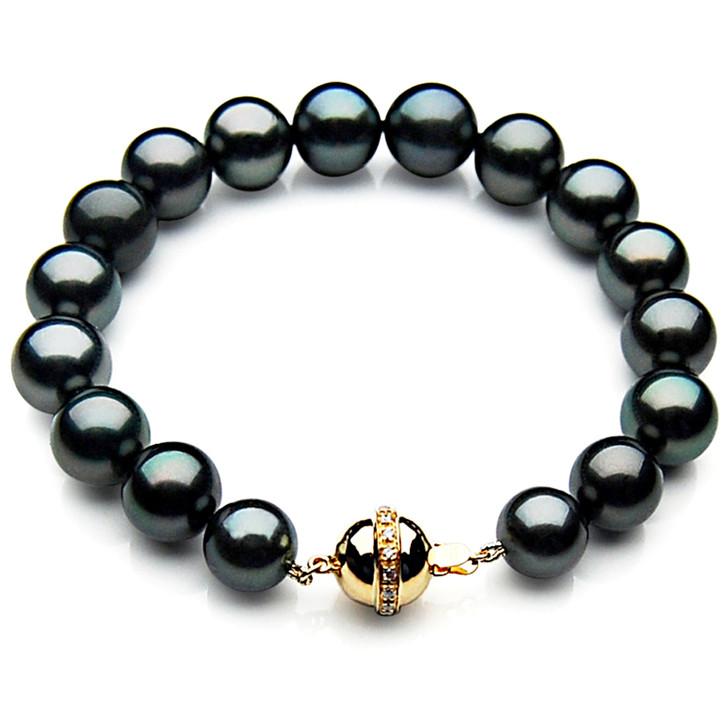 TB002 (AAA 9-11 mm Tahitian Black Pearl Bracelet  gold Diamond clasp 18cm  )