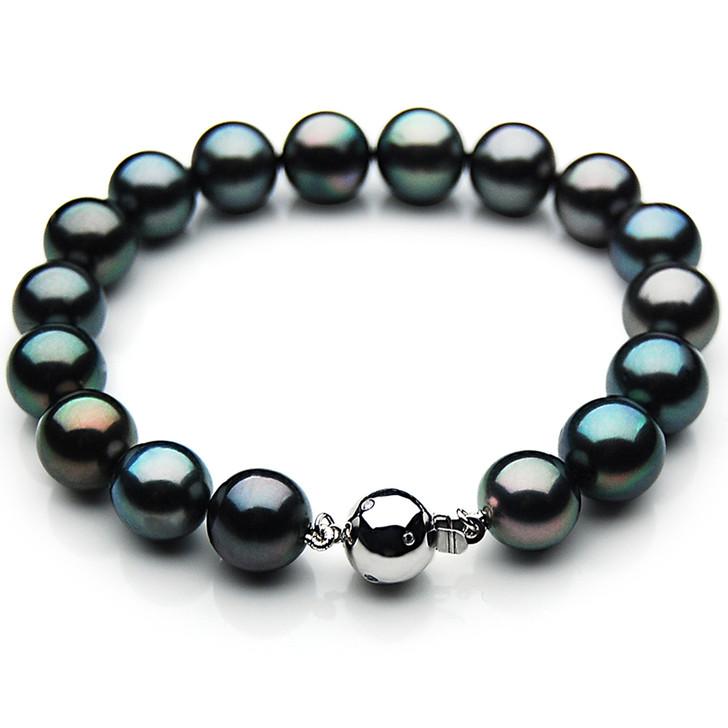 TB007 (AAA 9-11 mm Tahitian Black Pearl Bracelet Diamond clasp 21cm )