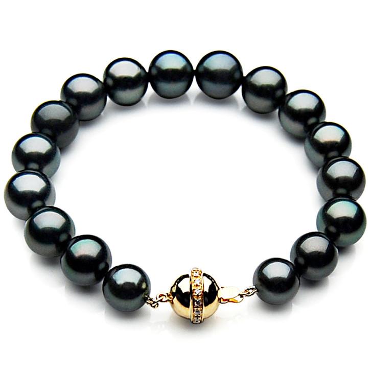 TB016 (AAA 10-12 mm Tahitian Black Pearl Bracelet gold Diamond clasp 21cm )