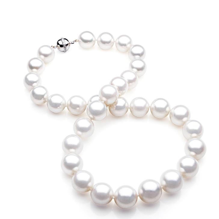 SN007 (AAA 13-15 mm Australian South Sea Pearl Necklace Gold Diamond Clasp )