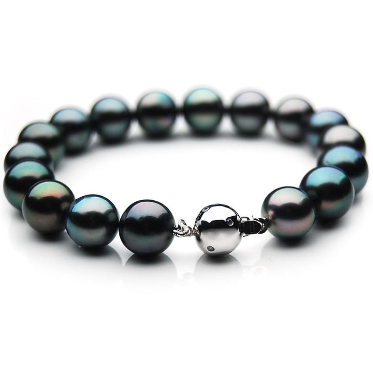 TB029 (AAA 11-13 mm Tahitian Black Pearl Bracelet Diamond clasp 18cm )