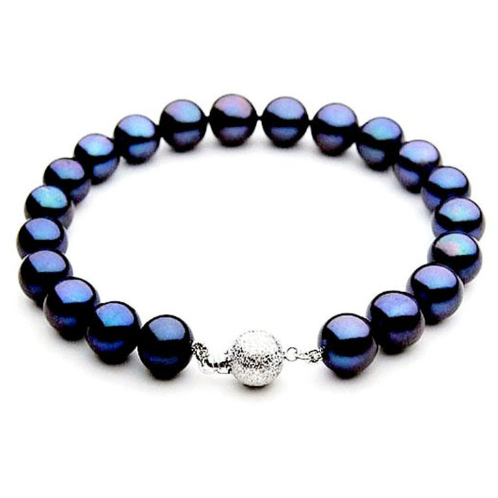 FB010a (AAA 9-10 mm Freshwater Pearl Bracelet 14k White gold clasp )