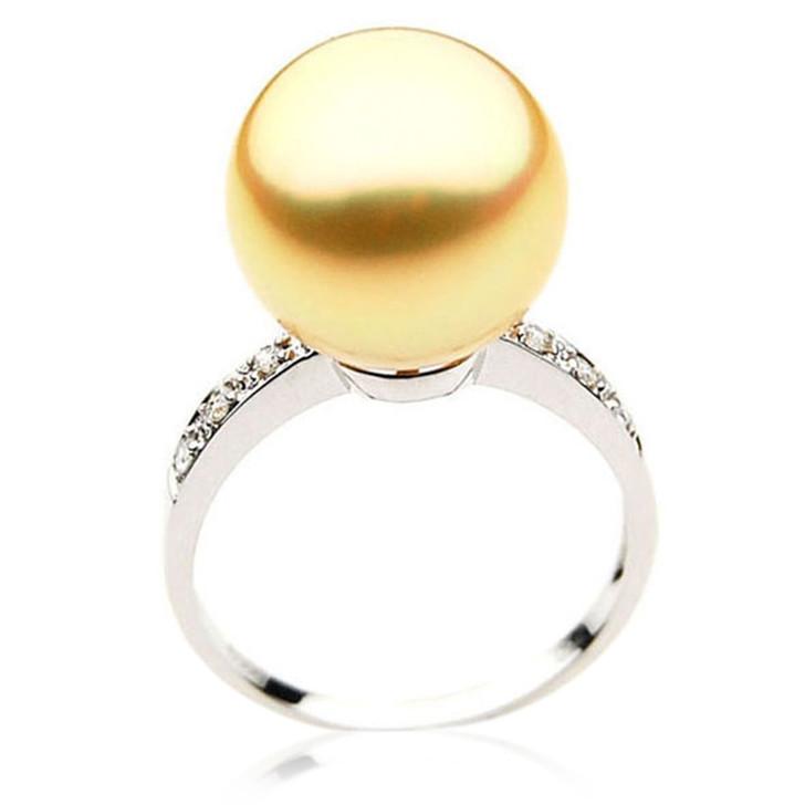 GR050 (AAA 14mm Australian Golden  South Sea Pearl Diamond Ring 18k White Gold)