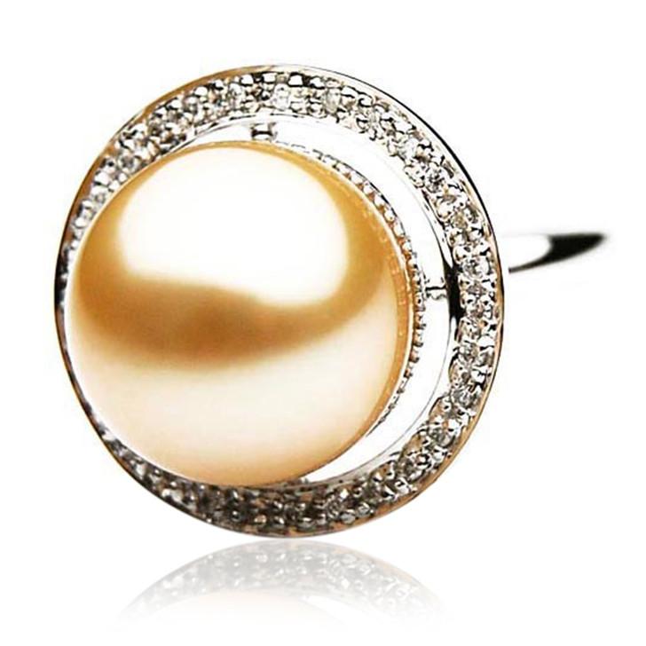 GR060 (AAA 14mm Australian Golden  South Sea Pearl Diamond Ring 18k White Gold)