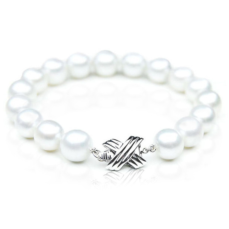 SB011 (AAA 10-12 mm Australian South Sea Pearl Bracelet White Gold clasp )