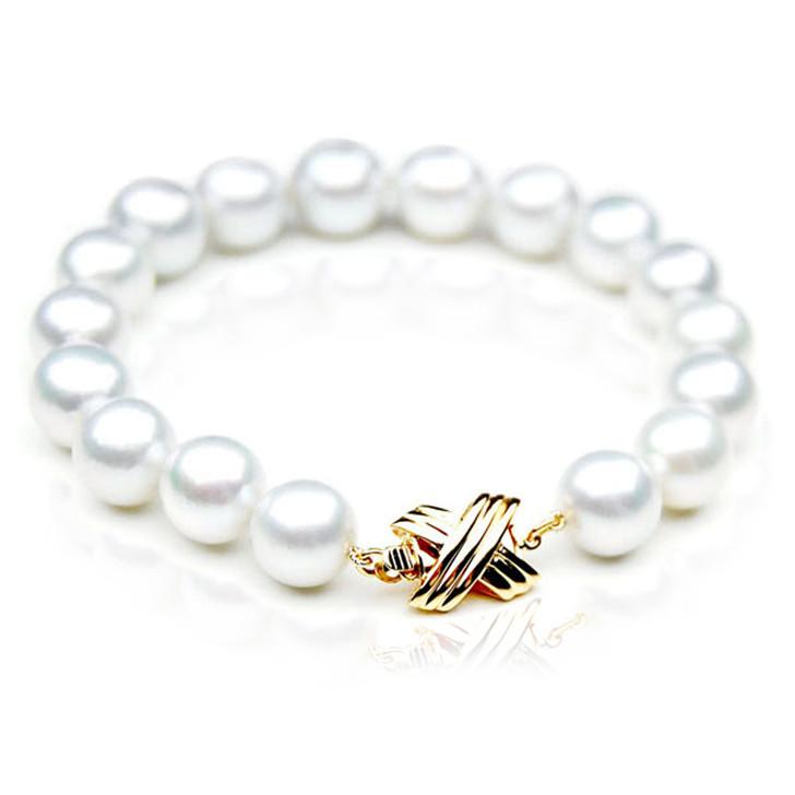 SB012 (AAA 10-12 mm Australian South Sea Pearl Bracelet 18k Gold clasp )
