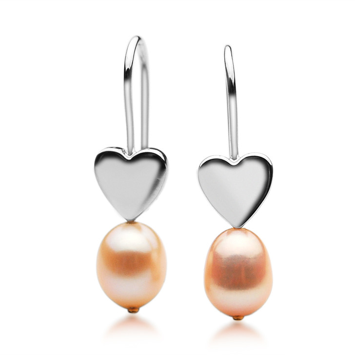 FEG07 (Drop 10x 8 mm AAA Pink Freshwater Cultured Pearl Earrings Set in Silver With 18k (750) Yellow Gold)