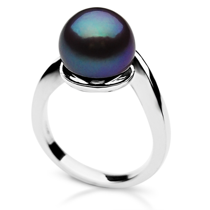 FR012 (AAA 10-11mm Black Freshwater Cultured Pearl Ring set in Silver)