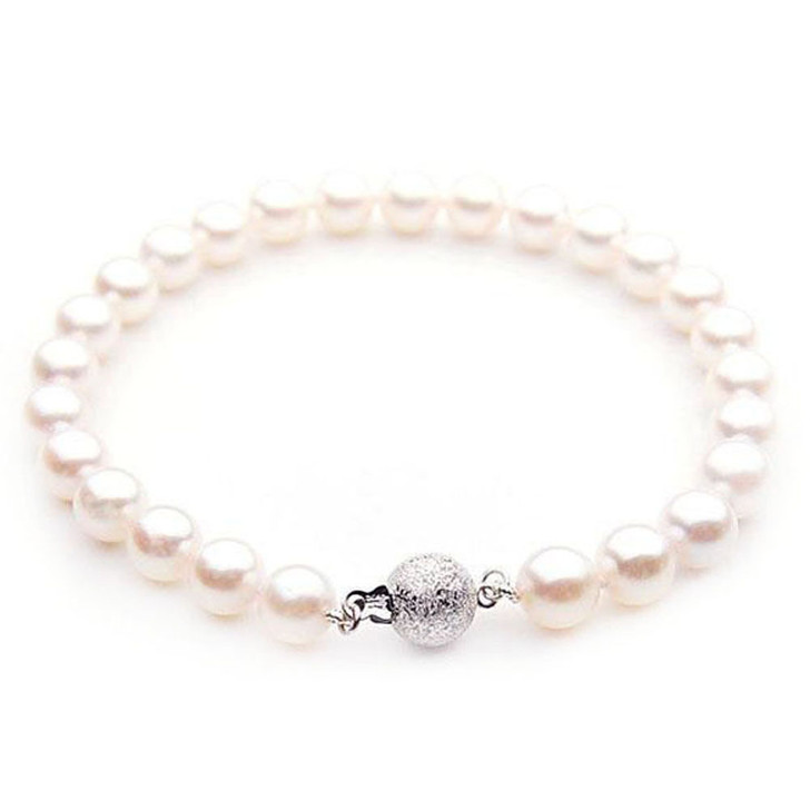 AB022-1 (AAA 8-8.5mm Japanese Akoya Saltwater Pearl Bracelet White Gold clasp )