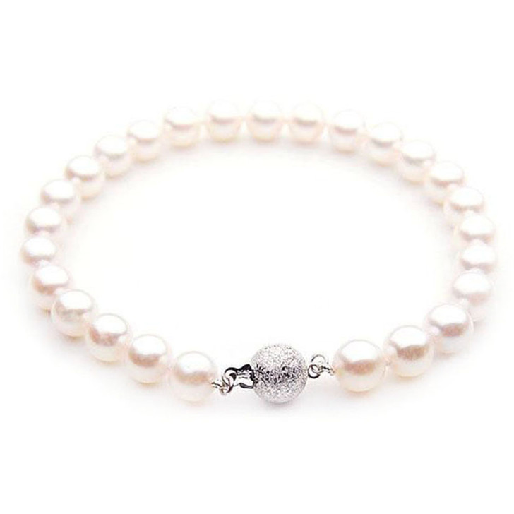 AB024-1 (AAA 8.5-9mm Japanese Akoya Saltwater Pearl Bracelet White Gold clasp )
