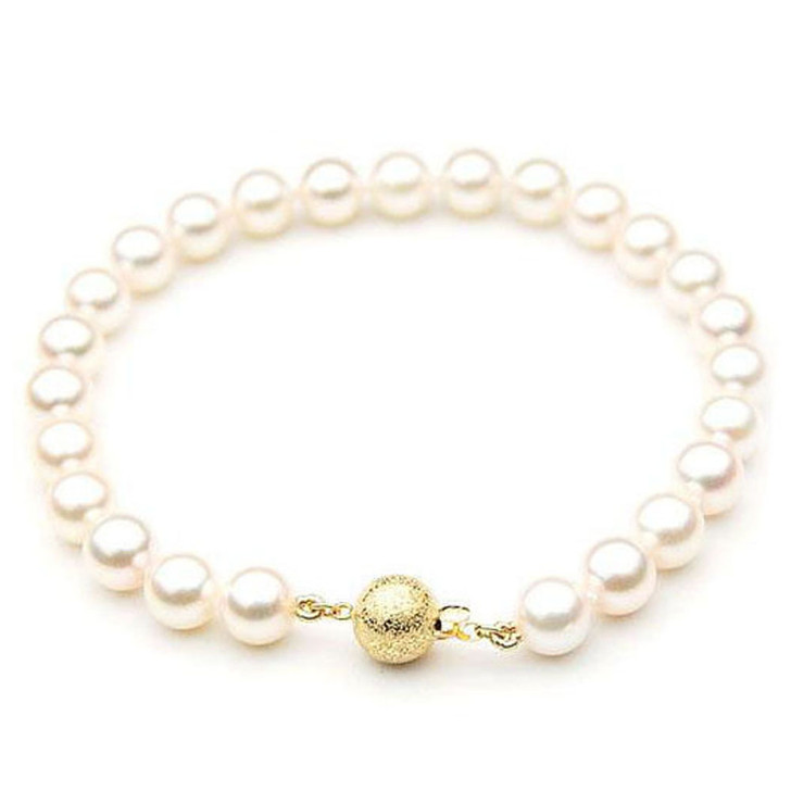 AB025-1 (AAA 8.5-9mm Japanese Akoya Saltwater Pearl Bracelet Yellow Gold clasp )