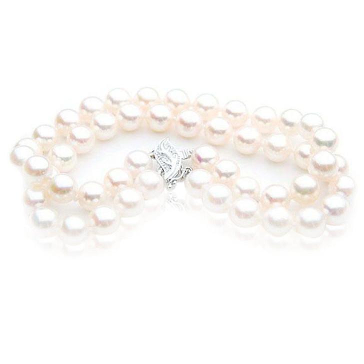 AB032-1 ( AAA 8-8.5mm Japanese Akoya Saltwater Pearl Bracelet White Gold Diamond Clasp )