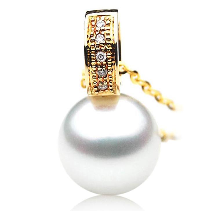 SP074 (AAA 13mm Australian South Sea Pearl Pendant Diamonds In 18k Gold )