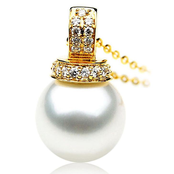 SP076 (AAA 13mm Australian South Sea pearl Pendant Diamonds 18k Gold )