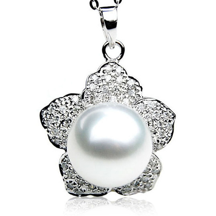 SP107 (AAA 14mm Australian South Sea pearl Pendant Diamonds 18k White Gold )