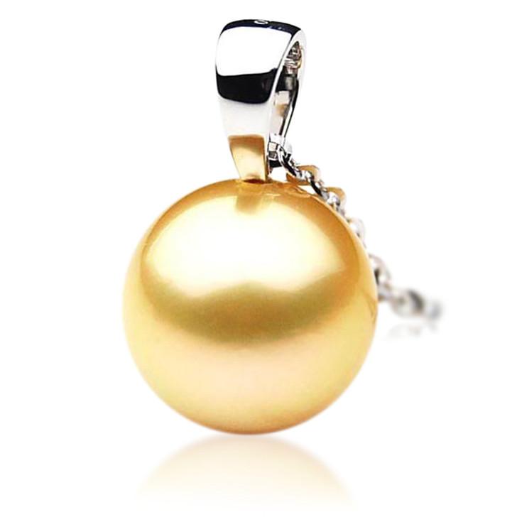 GP002 (AAA 11mm Australian Golden South Sea Pearl Pendant In 18K Gold)