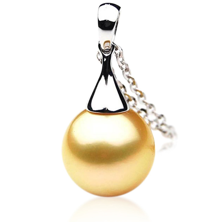 GP005 (AAA 11mm Australian Golden South Sea Pearl Pendant In 18K Gold)