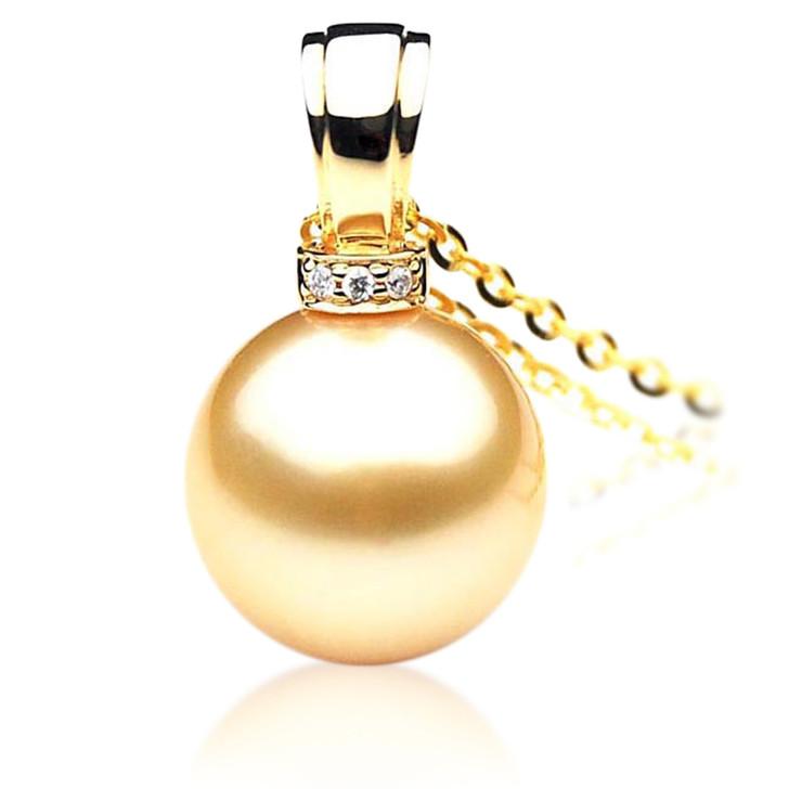 GP014 (AAA 11mm Australian Golden South Sea Pearl Pendant and diamonds Gold)