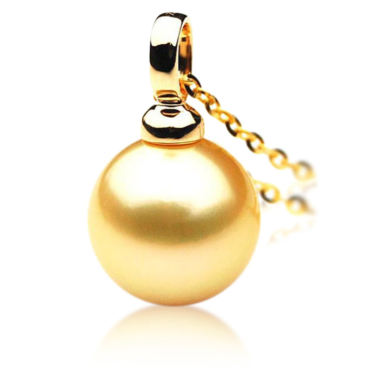 GP020 (AAA 12mm Australian Golden South Sea Pearl Pendant In Gold)