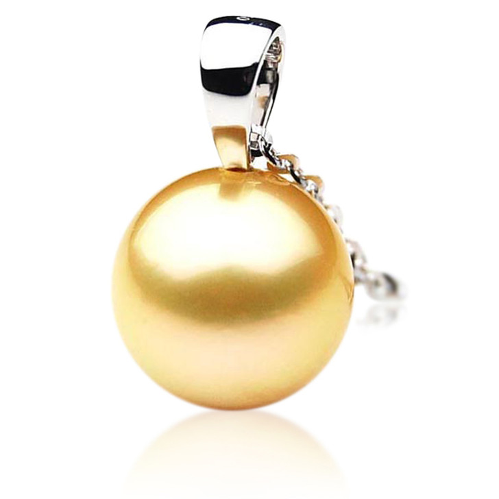 GP043 (AAA 13mm Australian Golden South Sea Pearl Pendant In Gold)