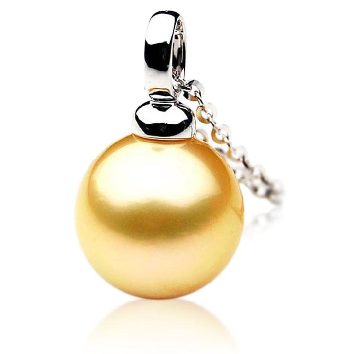 GP045 (AAA 13mm Australian Golden South Sea Pearl Pendant In Gold)