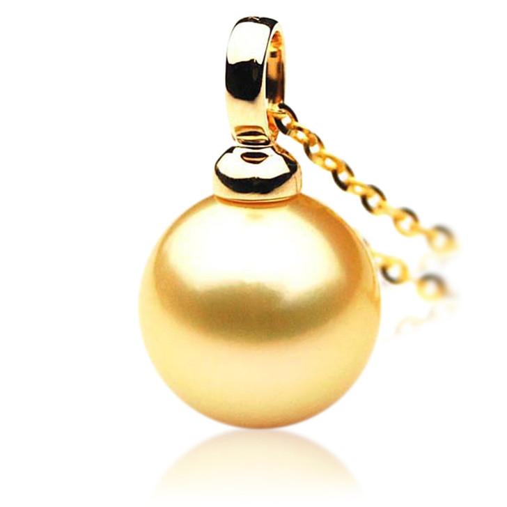 GP046 (AAA 13mm Australian Golden South Sea Pearl Pendant In 18K Gold)