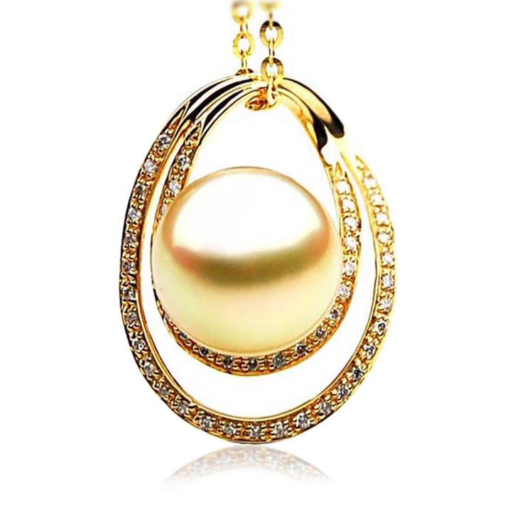 GP070 (AAA 13mm Australian Golden South Sea Pearl Pendant and Diamonds )