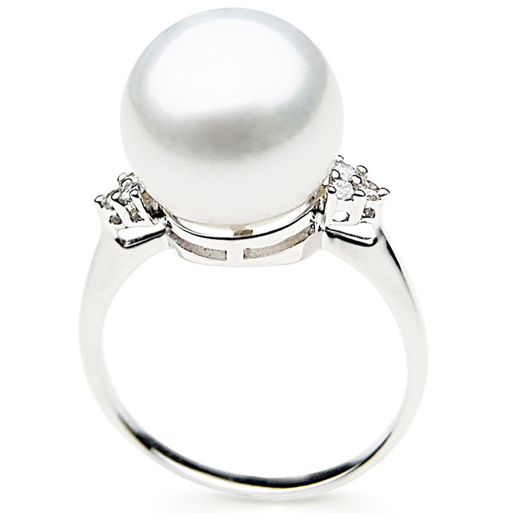 SR025 (AAA 12mm Australian south sea White pearl Diamond Ring 18k white gold)