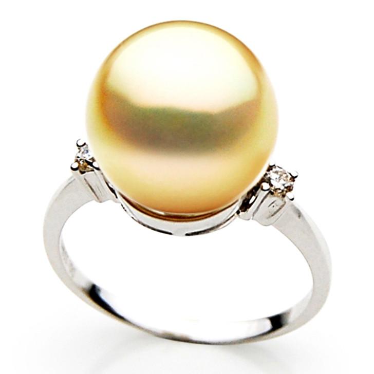 GR027 (AAA 12mm Australian Golden  South Sea Pearl Diamond Ring Gold)