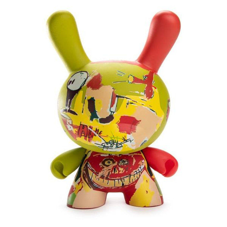 A rabbit vinyl figure with an abstract Basquiat artwork in red, green and yellow