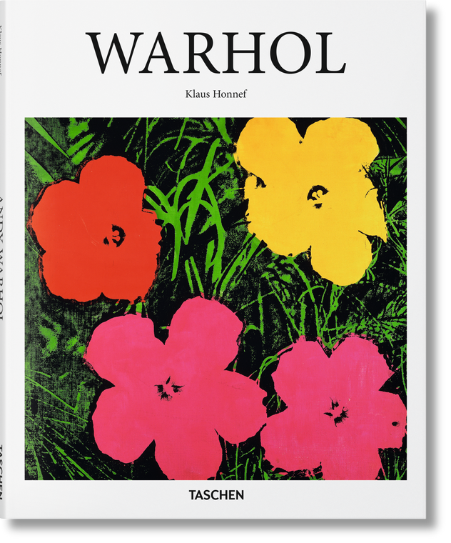 """A book cover with Warhol's flowers and the title """"Warhol"""""""