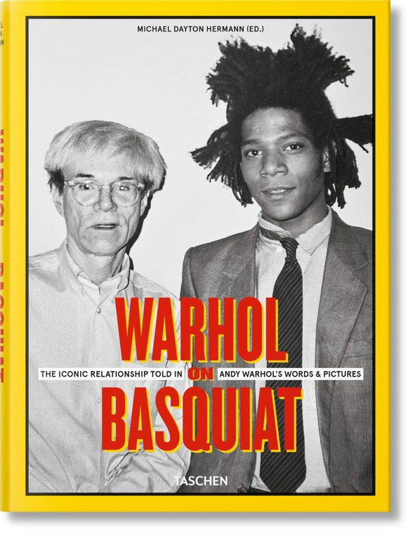 A book cover with a black and white photo of the artists with a yellow border.