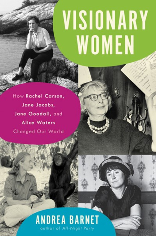 This image shows a book with the title Visionary Women and the photographs of several women.