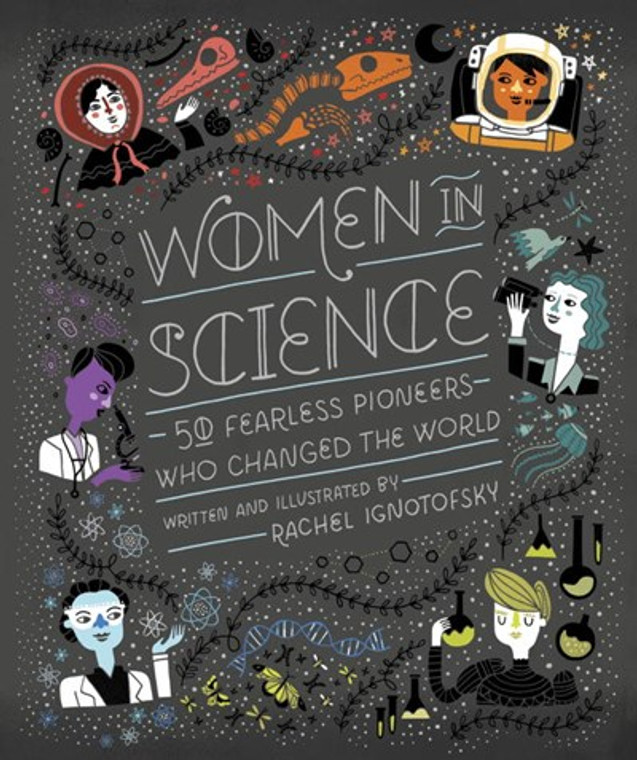 This image shows a book with a black background and drawings of science object and people.