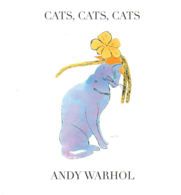 Image of the cover of a book with the title Cats, Cats, Cats. Image of a blue cat sits below the title. The author, Andy Warhol is noted as well.
