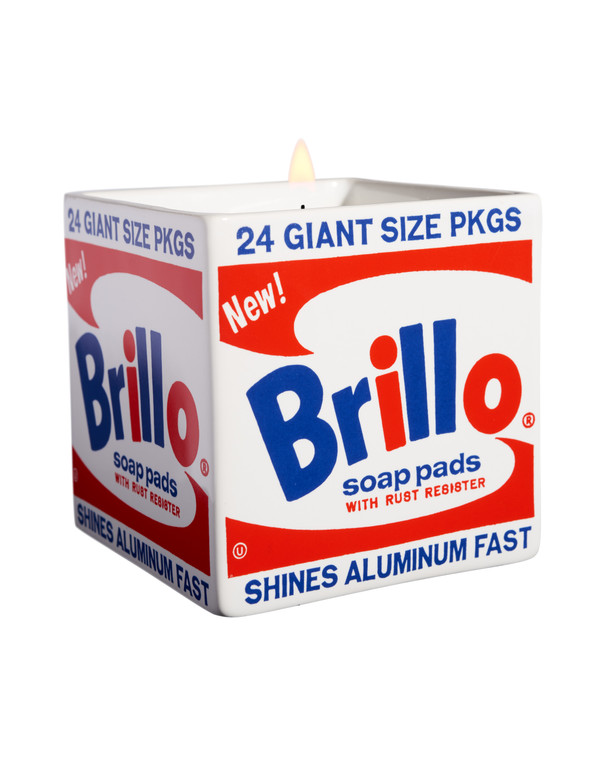 """Image of a white, square porcelain container printed with a design based on Andy Warhol's """"Brillo Box"""" in red and blue."""
