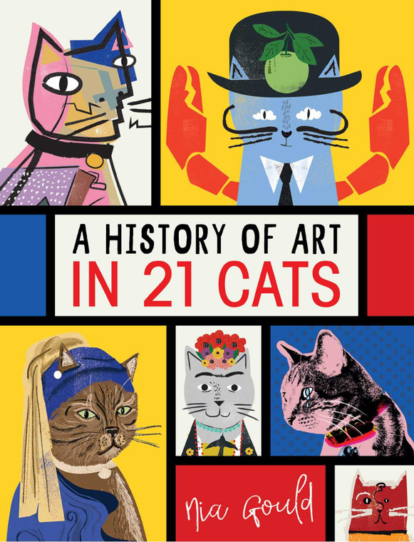 Illustrated cover of 5 cats with title in the middle.
