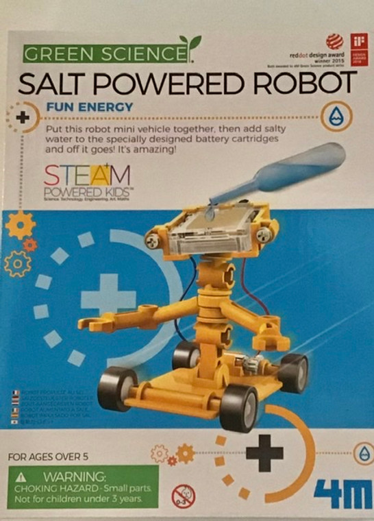 This image has a white and blue background with a completed yellow robot vehicle.