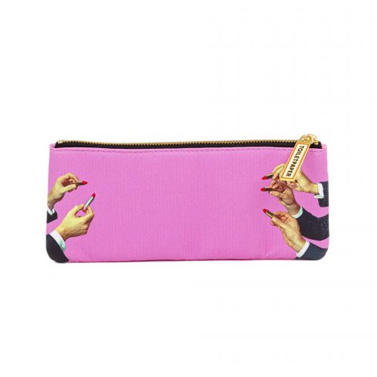 An image of a bubblegum pink, zippered pencil case, printed with hands coming in at all angles holding tubes of open red lipstick.