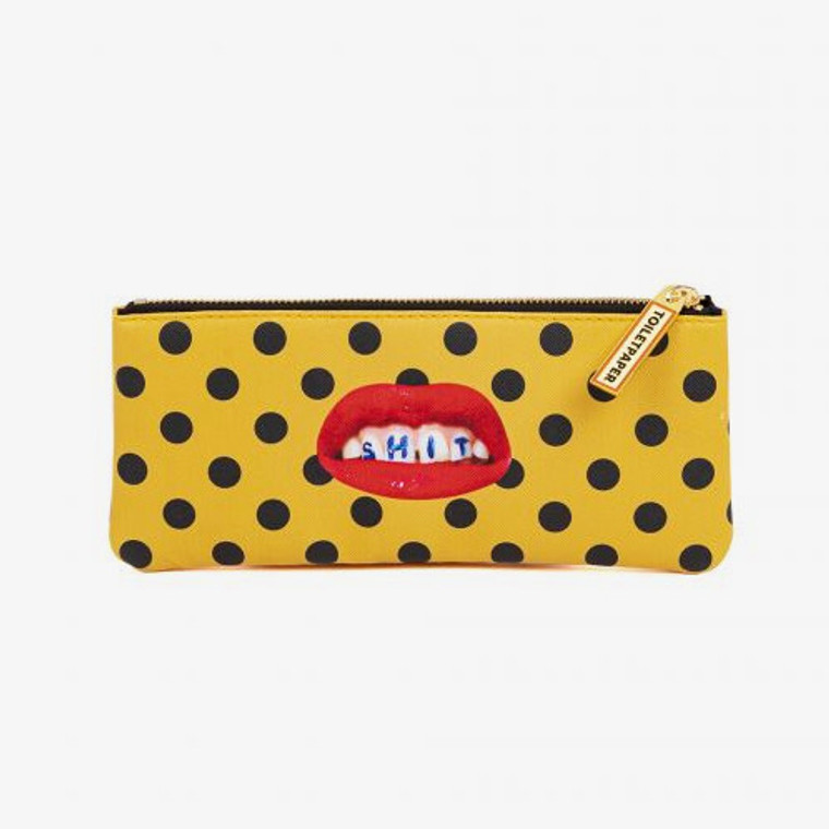 An image of a yellow, zippered pencil case with black spots and a lipsticked mouth with teeth exposed with the word SHIT written on the person's teeth in the center of the pouch.