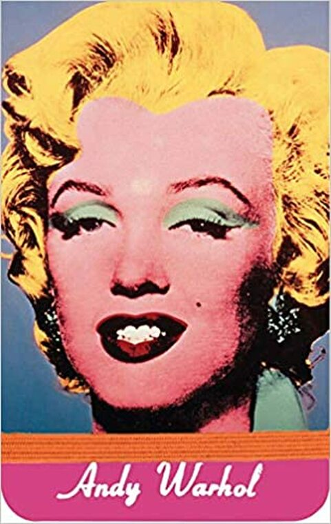 A small journal with a blue portrait of Marilyn Monroe