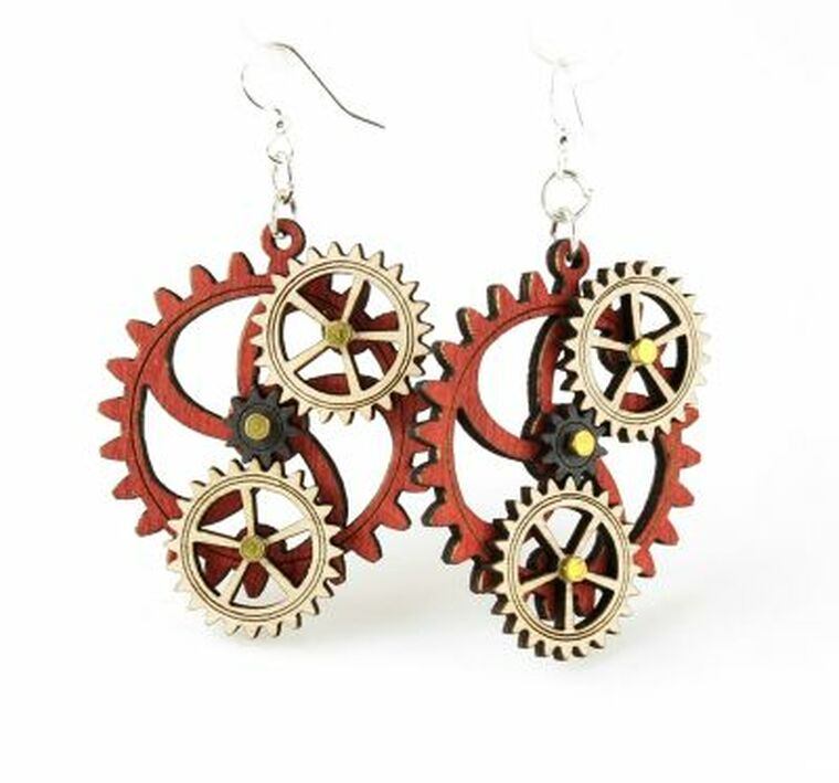 This image shows laser-cut gear dangle earrings