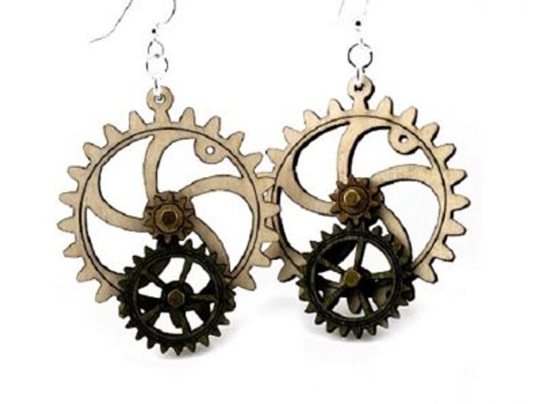 This image shows a wood gear earring with one gear.