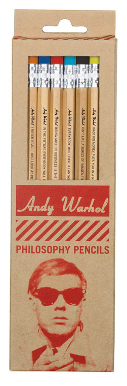 A tan cardboard box of pencils with red text and a portrait of Andy Warhol wearing sunglasses