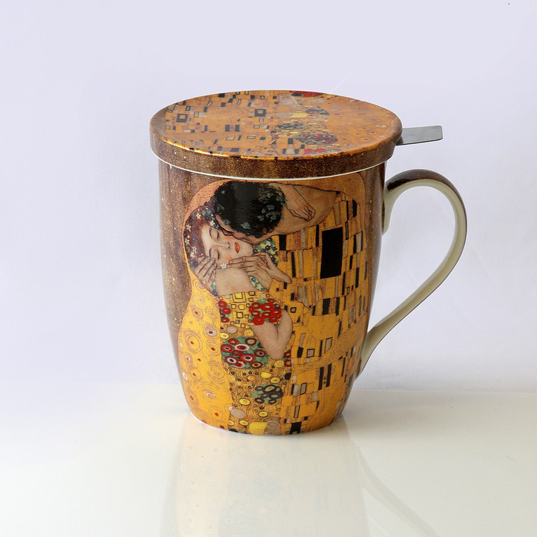 """Klimt """"The Kiss"""" Mug with Lid and Tea Infuser"""