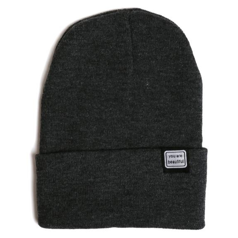 """a charcoal beanie with fold over with a small embroidered patch that says """"you are beautiful"""""""