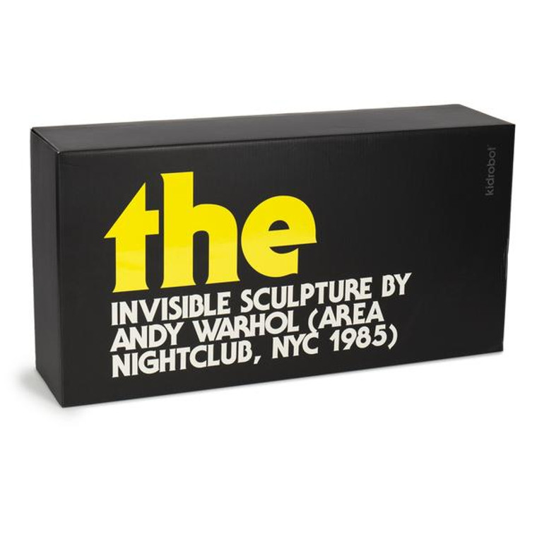 "black rectangular box with the title of ""the invisible sculpture by Andy Warhol"" ."