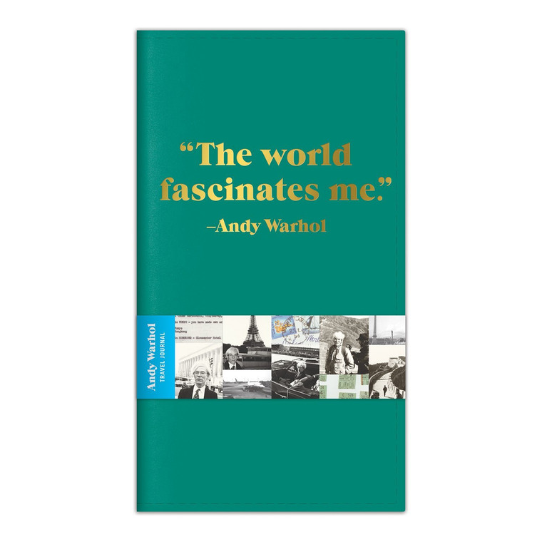 """image of teal colored cover of a journal with gould foil letters that say """"The world fascinates me""""."""